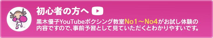 黒木優子YouTubeボクシング教室No1~No4がお試し体験の内容ですので、事前予習として見ていただくとわかりやすいです。